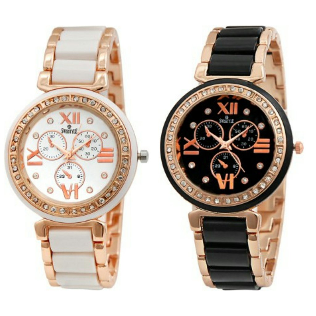 Analogue Dial Watches for Men and Women gold black